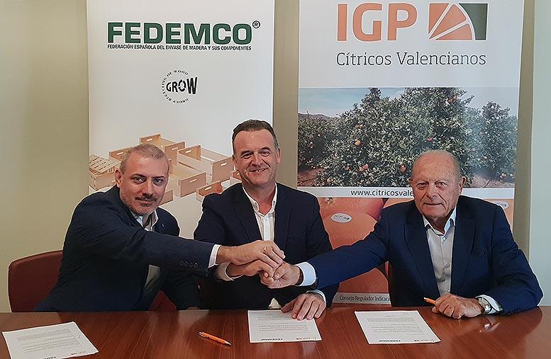 """Firma del convenio de colaboración entre Fedemco y la IGP """"Cítricos Valencianos""""."""